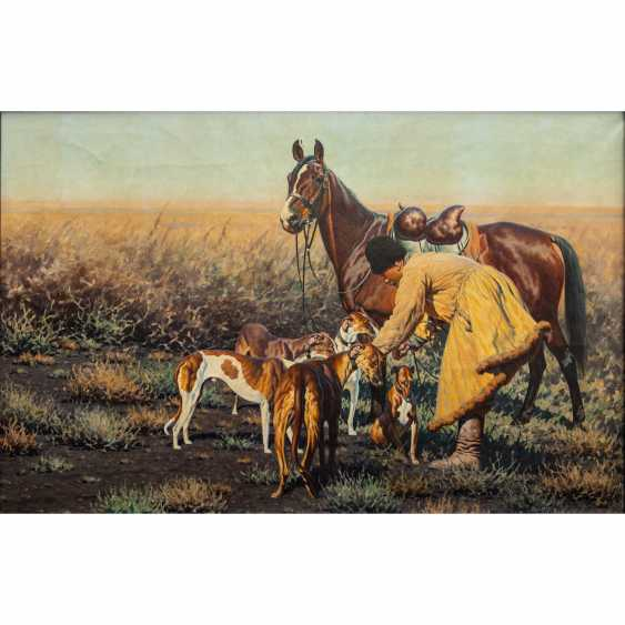 """UNGEWITTER, HUGO (1869 - 1944), """"Cossack with a horse and hounds in the Steppe"""", - photo 1"""