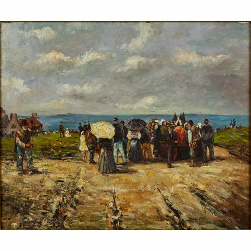 "HUBER, F. (?, indistinctly signed; a painter/20. Century), ""Strolling on the beach"", - photo 1"