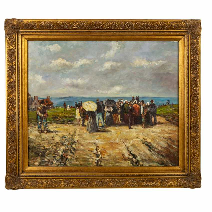 "HUBER, F. (?, indistinctly signed; a painter/20. Century), ""Strolling on the beach"", - photo 2"