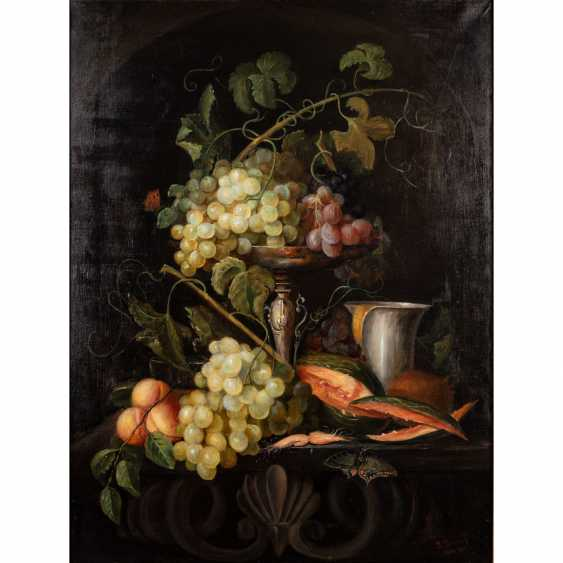 "SASSNER, J. (?, Painter/19./20. Century), ""still life with grapes and silver vessels"" - photo 1"