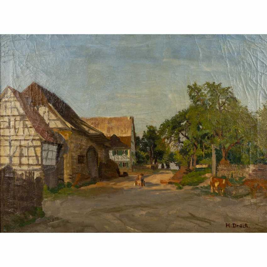"PRESS, HERMANN (Vaihingen/Enz 1856-1931), ""half-timbered houses on a village green"", - photo 1"