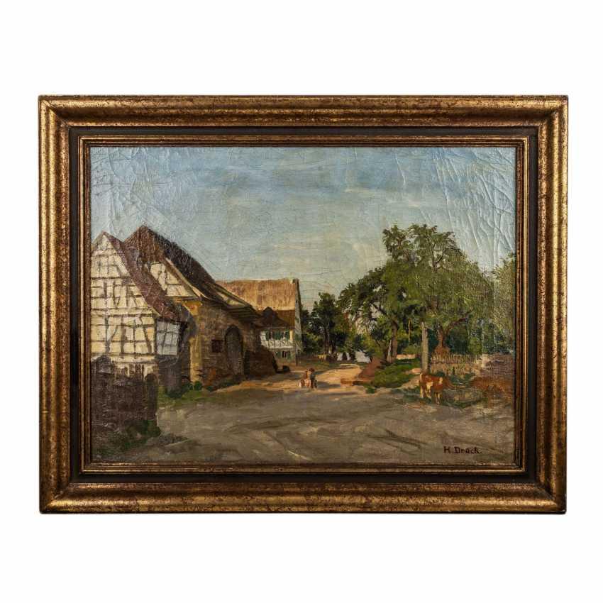 "PRESS, HERMANN (Vaihingen/Enz 1856-1931), ""half-timbered houses on a village green"", - photo 2"