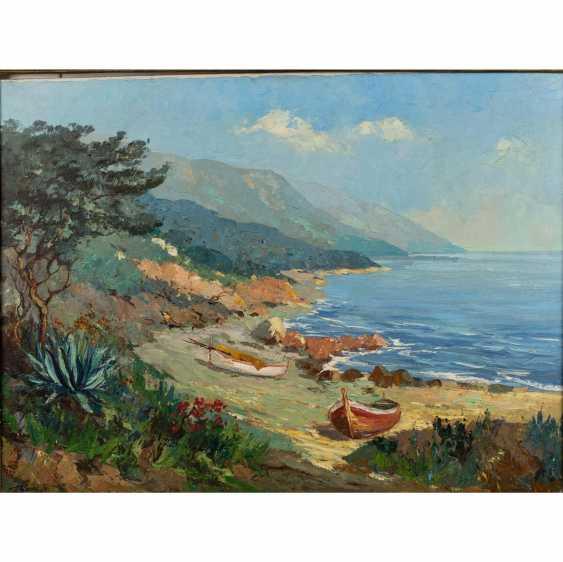 "GERTH, HELMUT Jr. (Painter 20. Century), ""boats on the Mediterranean coastal cliffs"", - photo 1"