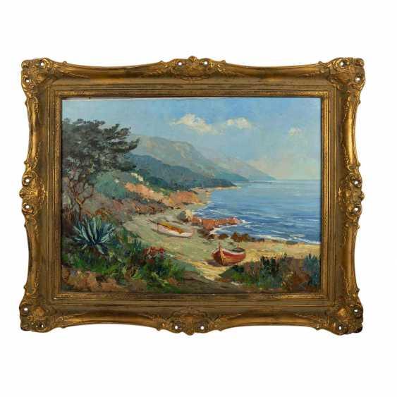 "GERTH, HELMUT Jr. (Painter 20. Century), ""boats on the Mediterranean coastal cliffs"", - photo 2"