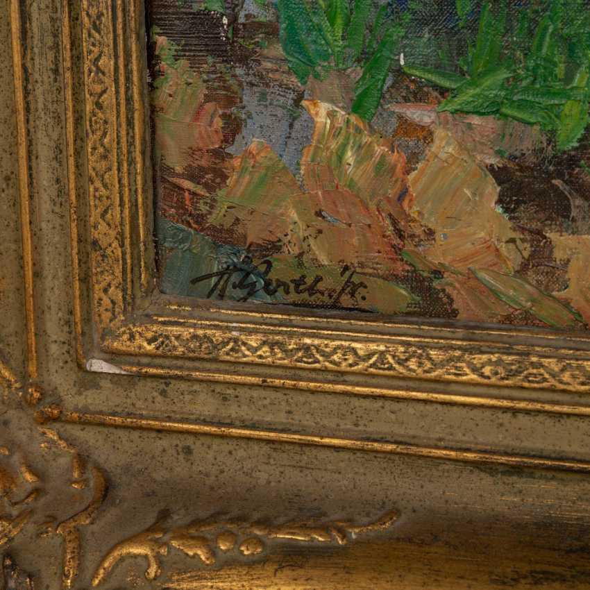 "GERTH, HELMUT Jr. (Painter 20. Century), ""boats on the Mediterranean coastal cliffs"", - photo 3"