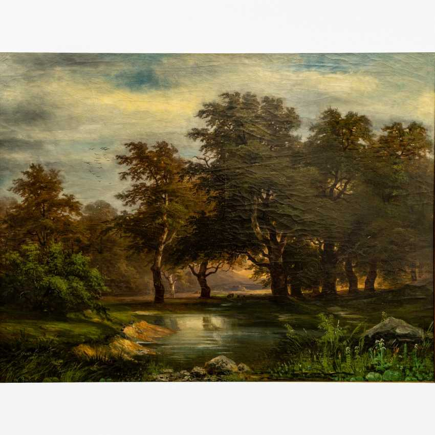 "KRIEHUBER, Joseph, ATTRIBUTED to (Vienna 1801-1876 Vienna), ""Romantic landscape with trees on a pond"", - photo 1"