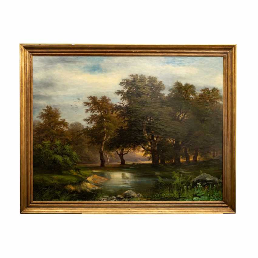 "KRIEHUBER, Joseph, ATTRIBUTED to (Vienna 1801-1876 Vienna), ""Romantic landscape with trees on a pond"", - photo 2"
