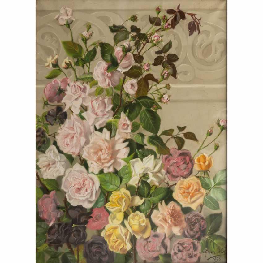 """WILL, HELENE (Künstlerin 19./20. Jahrhundert), """"Rosen vor neogotischem Gesims"""", - Foto 1"""