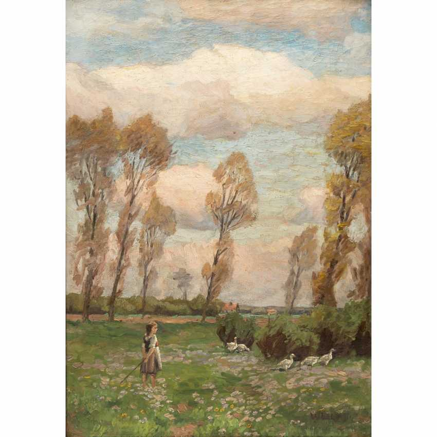 """LUCAS, WILLIAM (1884-1918) """"goose-girl on a flower meadow"""" - photo 1"""