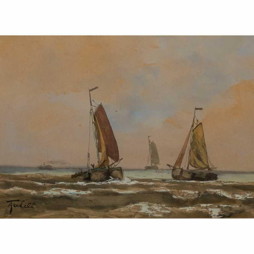 "TERHELL, ADRIAAN CHRISTIAN W. (1863-1949), ""sailing boats on the coast"", - photo 1"
