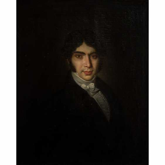 """MALER des 19. Jahrhundert, """"Portrait eines jungen Herrn in Biedermeiergewand"""", - Foto 1"""