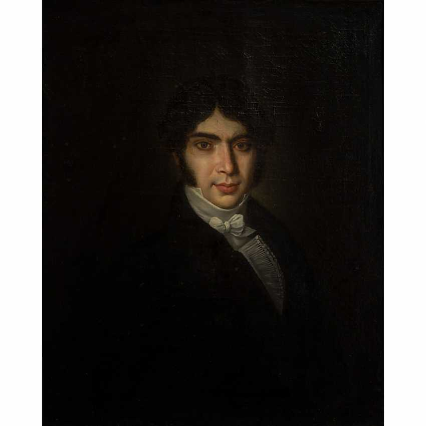 "PAINTER of the 19th century. Century, ""Portrait of a young gentleman in a Biedermeier robe"", - photo 1"