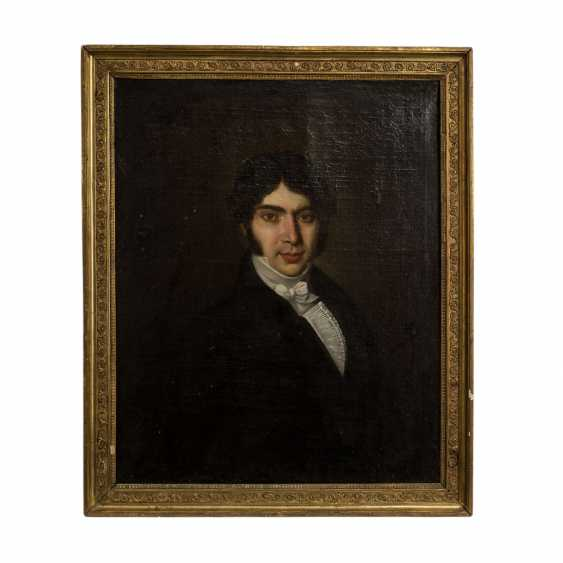 "PAINTER of the 19th century. Century, ""Portrait of a young gentleman in a Biedermeier robe"", - photo 2"