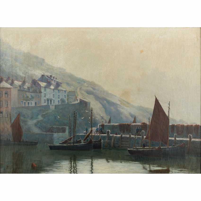 "RIPPER, CHAS (painter 19./20. Century), ""fishermen in the port"", - photo 1"