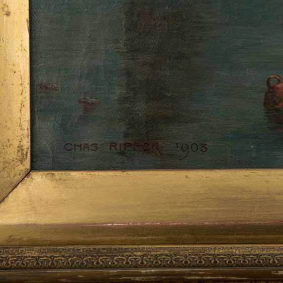 "RIPPER, CHAS (painter 19./20. Century), ""fishermen in the port"", - photo 3"