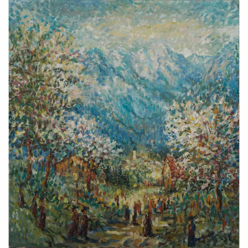 """PAINTER/20. Century, HENNINGER students, """"the Church in the early summer mountain landscape"""", - photo 1"""