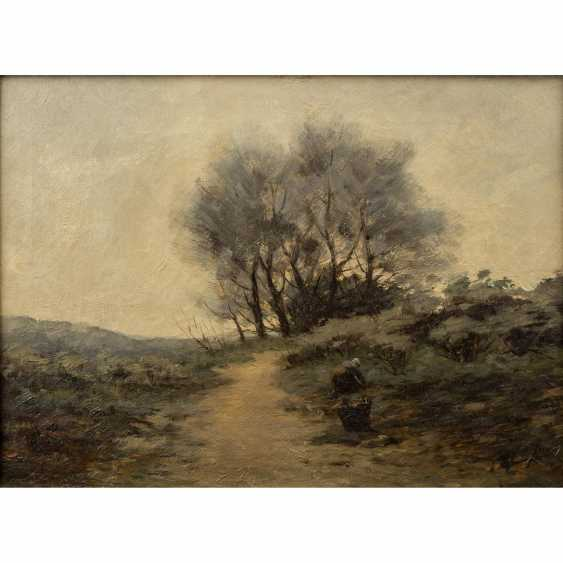 "JANS, JAN (painter 19./20. Century, French school), ""brushwood collector along the way"", - photo 1"