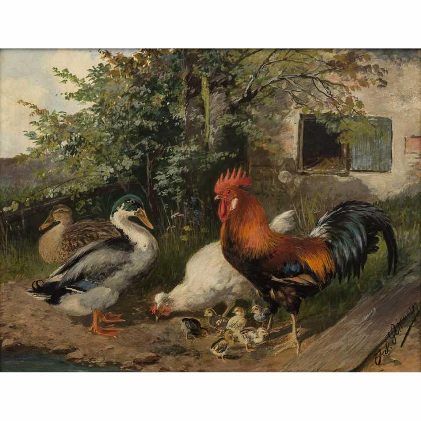 """SCHEUERER, JULIUS (München 1859-1913 Planegg), """"Federvieh vor dem Stall"""", - Foto 1"""