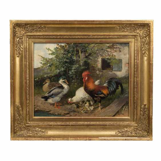 """SCHEUERER, JULIUS (München 1859-1913 Planegg), """"Federvieh vor dem Stall"""", - Foto 2"""