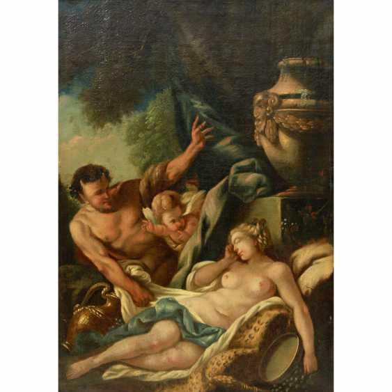 SÜDDEUTSCHER BAROCKMALER; 18. Jahrhundert: Satyr und Amor belauschen eine schlafende Nymphe. - Foto 1