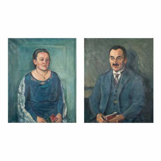 "LAAGE, WILHELM (Hamburg 1868-1930 Reutlingen, Germany), portrait of couple ""Hugo and Sophie Hebsaker"", - photo 1"