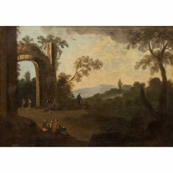 """PAINTER 17./18. Century, """"Walker in an ideal landscape with ruin,"""" - photo 1"""