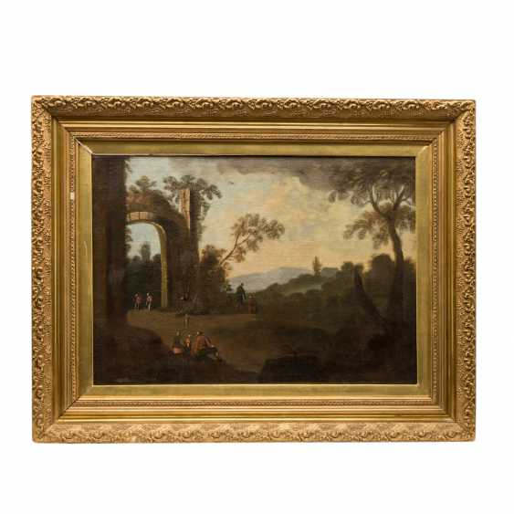 """PAINTER 17./18. Century, """"Walker in an ideal landscape with ruin,"""" - photo 2"""