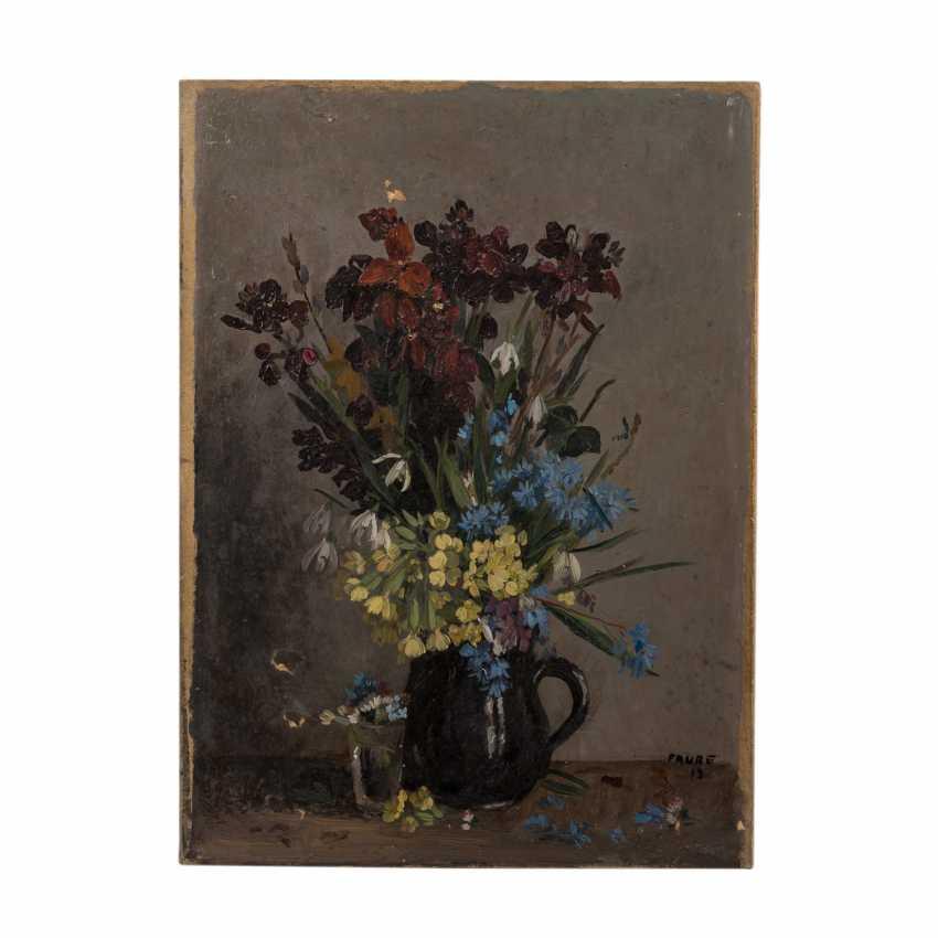 "FAURE, AMANDUS (Hamburg 1874-1931 Stuttgart), ""spring bouquets of flowers in jug and glass"", - photo 2"