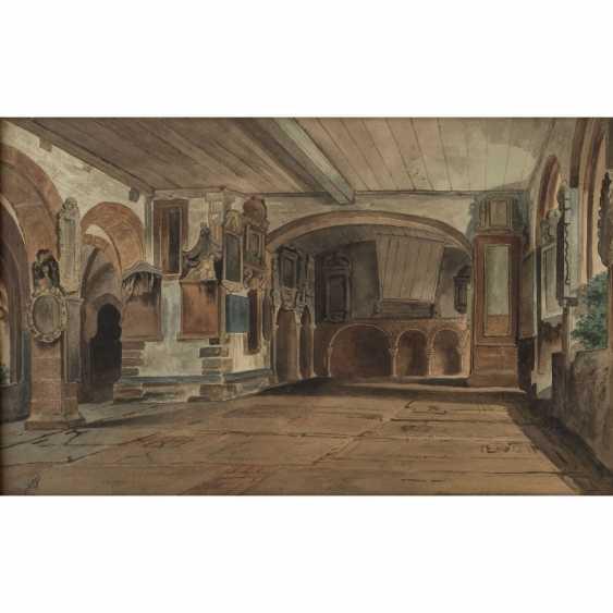 """MONOGRAMMIST (Maler/in 19. Jahrhundert), """"Schlossinterieur"""", - Foto 1"""
