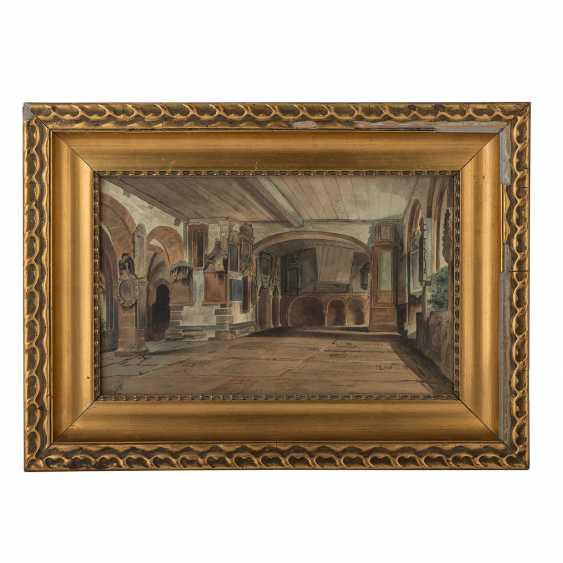 """MONOGRAMMIST (Maler/in 19. Jahrhundert), """"Schlossinterieur"""", - Foto 2"""