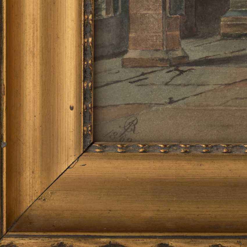 """MONOGRAMMIST (Maler/in 19. Jahrhundert), """"Schlossinterieur"""", - Foto 3"""