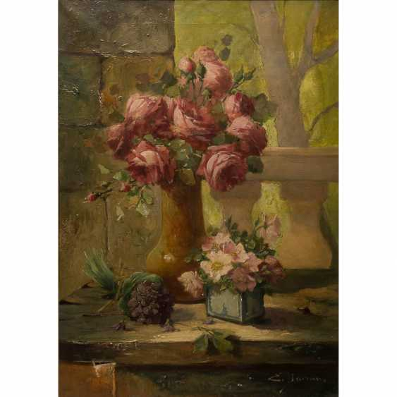 "DOMAN / DAMAN, E. ? (indistinct French signed;. Painter/19./20. Century), ""still life with roses and Violets"", - photo 1"