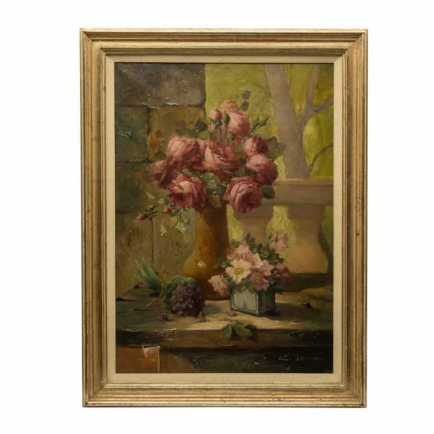 "DOMAN / DAMAN, E. ? (indistinct French signed;. Painter/19./20. Century), ""still life with roses and Violets"", - photo 2"