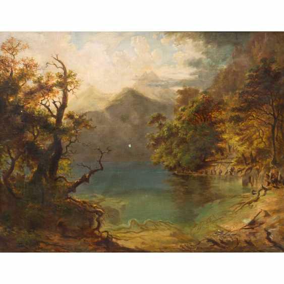 """HEINLEIN, HEINRICH (Weilburg/Nassau 1803-1885 Munich), """"mountain Lake with wooded Shores"""", - photo 1"""