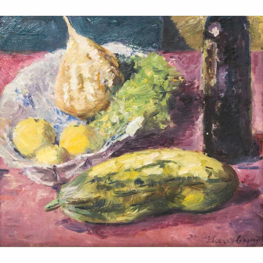 "HASSEBRAUK, ERNST (Dresden 1905-1974 ibid, Prof.), ""still life with cucumber, fruit on a dish and a bottle of wine"", - photo 1"