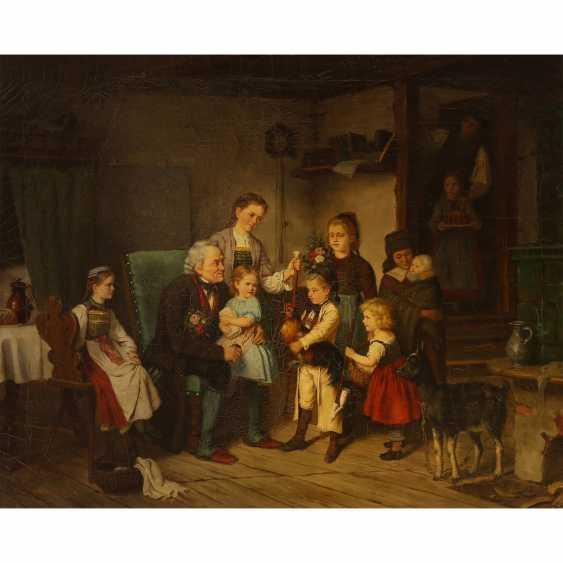 """Maler der Münchner Schule 19. Jahrhundert, """"GROßVATERS GEBURTSTAG"""", - Foto 1"""