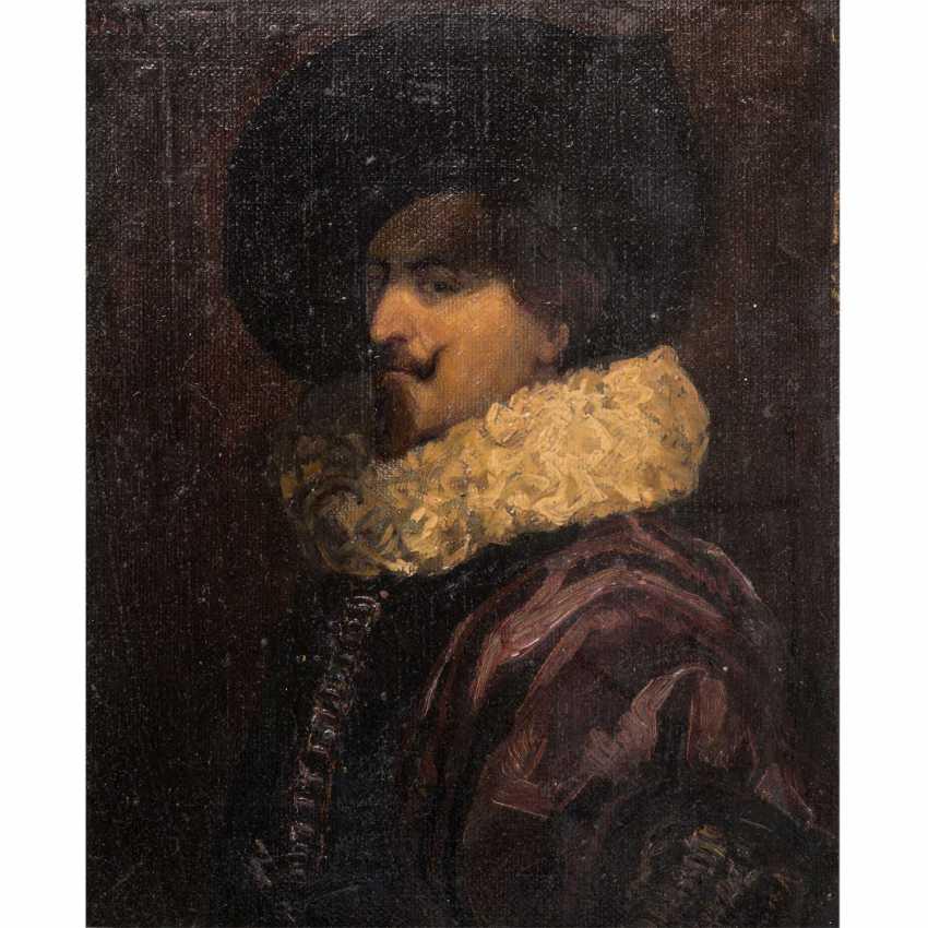 """TIEL, HANS (19./20. Jahrhundert), """"Portrait eines Edelmannes mit Mühlsteinkragen"""", - Foto 1"""