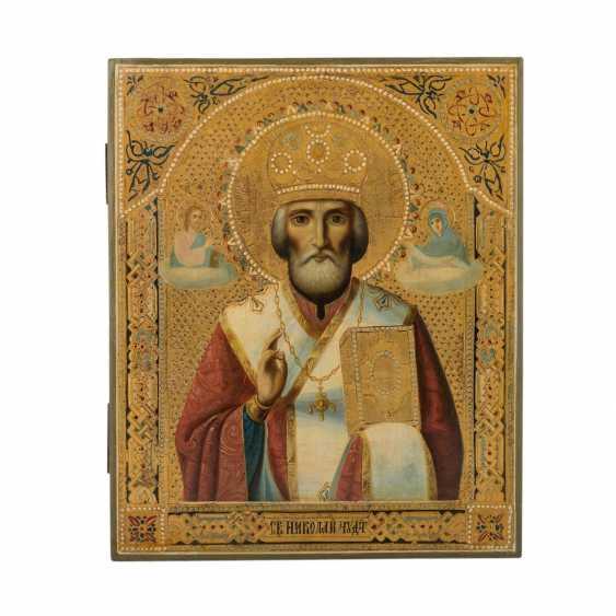 """IKONE """"Heiliger Nikolaus"""", Zentral-Nordrussland, kurz nach 1880, - Foto 1"""