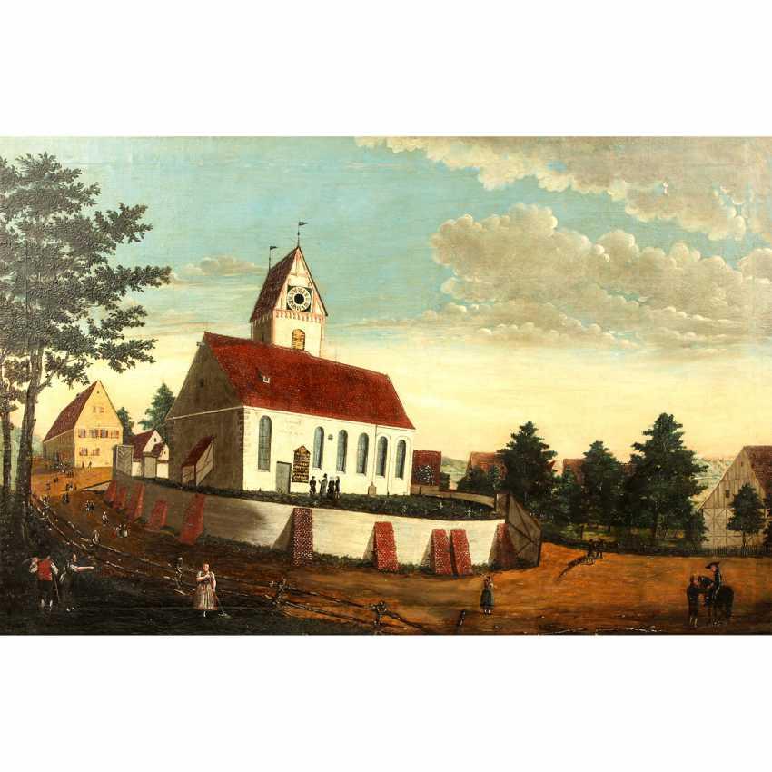 """MALER der 1. Hälfte des 19 Jahrhundert, """"Oberbalzheim an der Iller, Blick auf die Kirche"""", - Foto 1"""