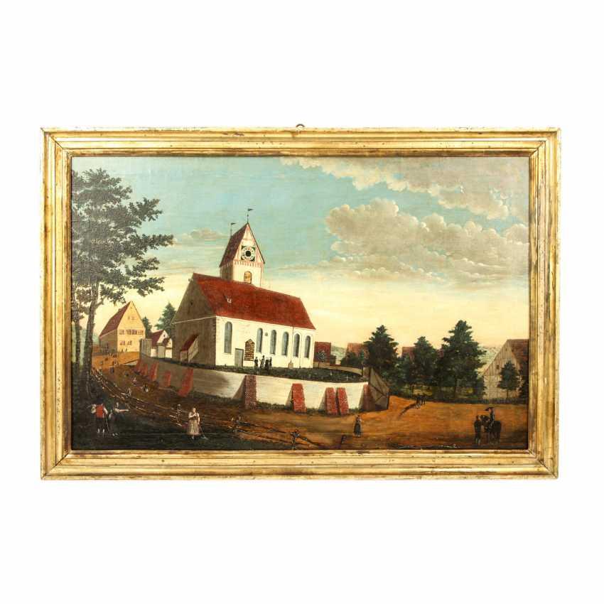 """MALER der 1. Hälfte des 19 Jahrhundert, """"Oberbalzheim an der Iller, Blick auf die Kirche"""", - Foto 2"""