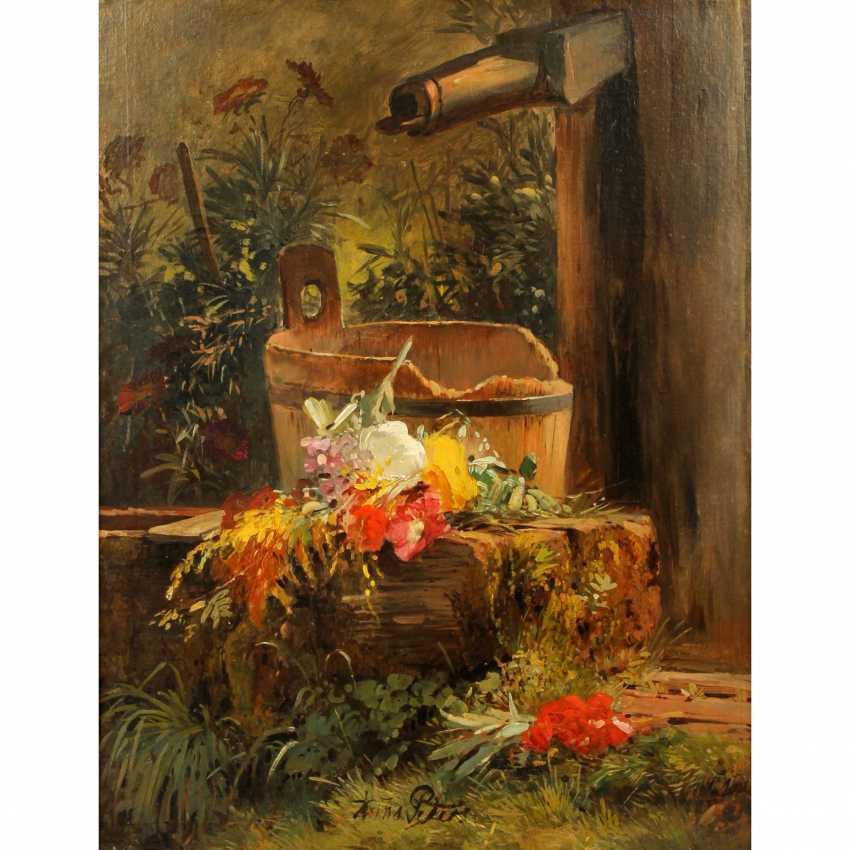 """PETERS, ANNA (Mannheim 1843 - 1926 Stuttgart), """"Blumen am Gartenbrunnen"""", - Foto 1"""