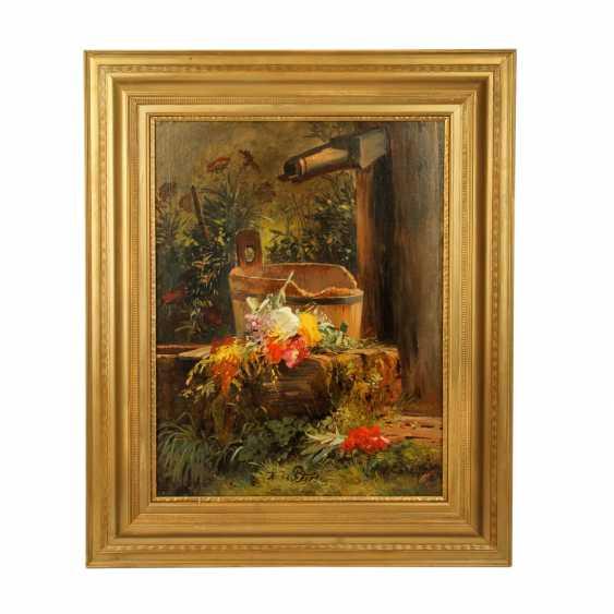 """PETERS, ANNA (Mannheim 1843 - 1926 Stuttgart), """"Blumen am Gartenbrunnen"""", - Foto 2"""