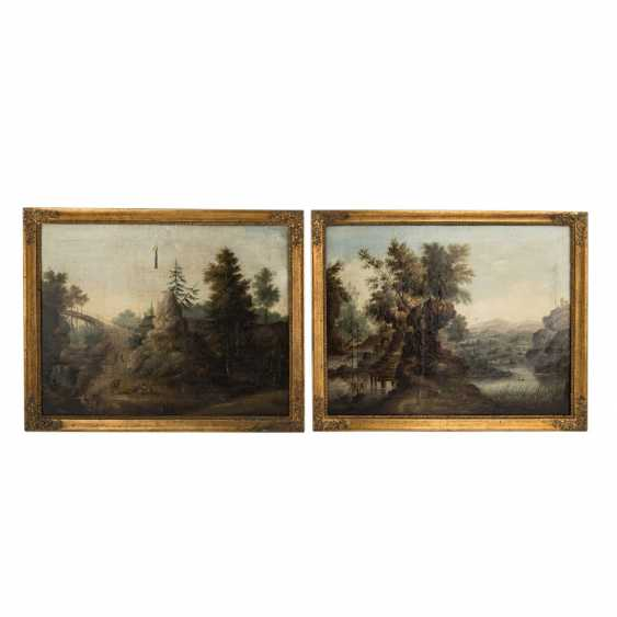 PAINTER of the 17th century./18. Century, 2 Counterparts, Landscapes, - photo 1