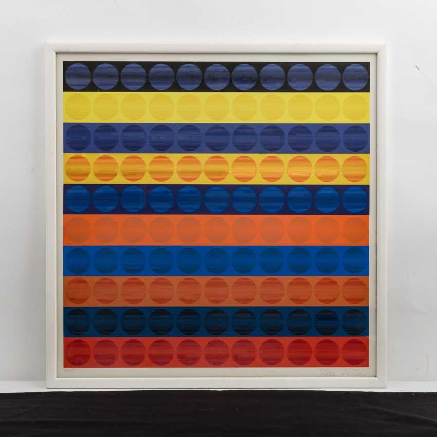 """PICELJ, IVAN (auch Yvan Picely, 1924-2011), """"Geometrische Farbkomposition der Op-Art"""", - photo 2"""