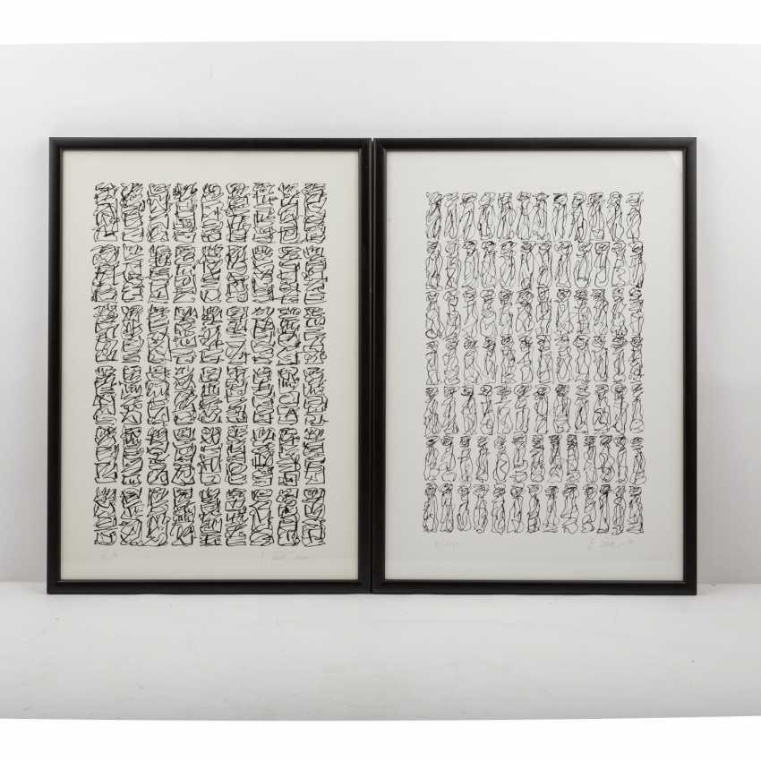 TECK, G. ? (undeutlich signiert, Künstler/in 20./21. Jahrhundert), Paar kalligraphische Kompositionen, - Foto 1