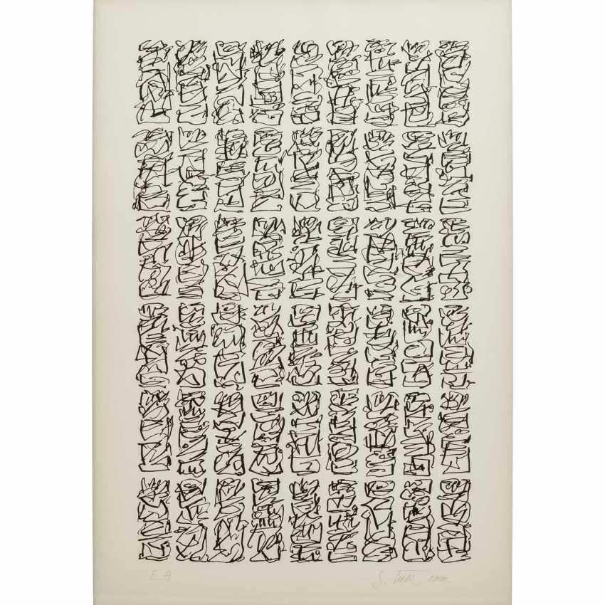 TECK, G. ? (undeutlich signiert, Künstler/in 20./21. Jahrhundert), Paar kalligraphische Kompositionen, - Foto 4