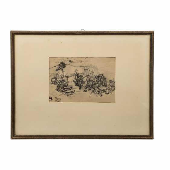 """HAUG, Robert von, ZUGESCHRIEBEN (Stuttgart 1857-1922 ebenda, Prof.), """"Soldaten in der Schlacht"""", - Foto 2"""