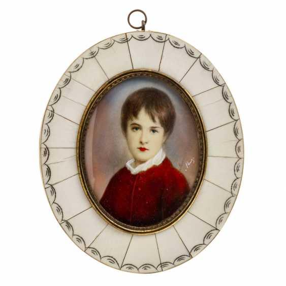 Porträt-Miniatur 'Knabe im roten Anzug', 1900-1945. - Foto 1