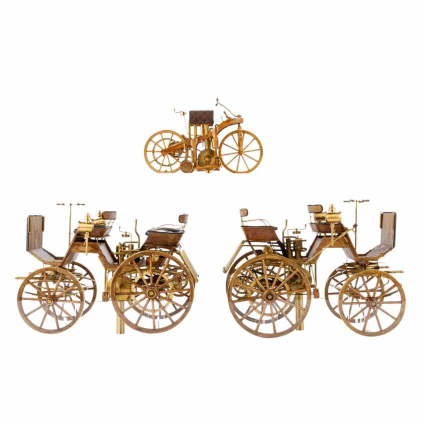3-teilig Konvolut Modelle von Motoren- und Reitwagen, 20. Jahrhundert - Foto 1