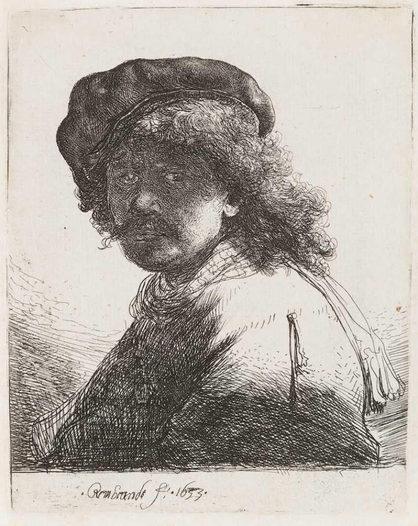 REMBRANDT HARMENSZOON VAN RIJN, 1606 Лейден - 1669 Амстердам АВТОПОРТРЕТ С ПОЯСОМ НА ШЕЕ, 1633 - фото 1
